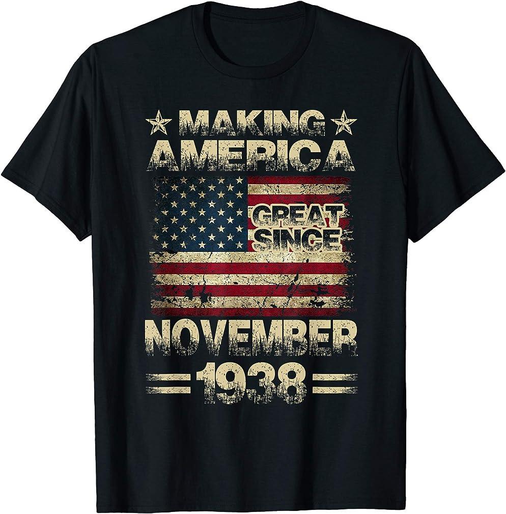 81st Birthday Gifts America November 1938 81 Year Old T-shirt