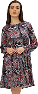 Women Floral Print Rayon Dress (Multicolor)
