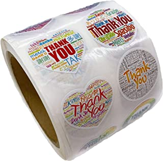 1.5 Inches Thank You Stickers-1000 Pieces with Multilanguages-New Type Heart Circle Colourful Cute Sticker Pack-8 Different Designs-Thank You Stickers Roll for Small Business-Labels&Birthdays&Boxes