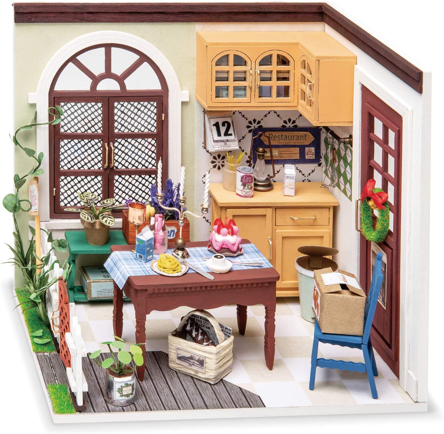 Robotime Tech Hobby Craft Kit 1:24 Miniature House Model with Furniture and Accessories Craft Kit Bedroom Study Dining Room Model Kit Dining Room