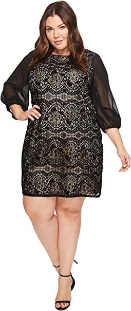 Adrianna Papell - Plus Size Flocked Lurex Lace Mixed Media Long Sleeve Sheath Dress