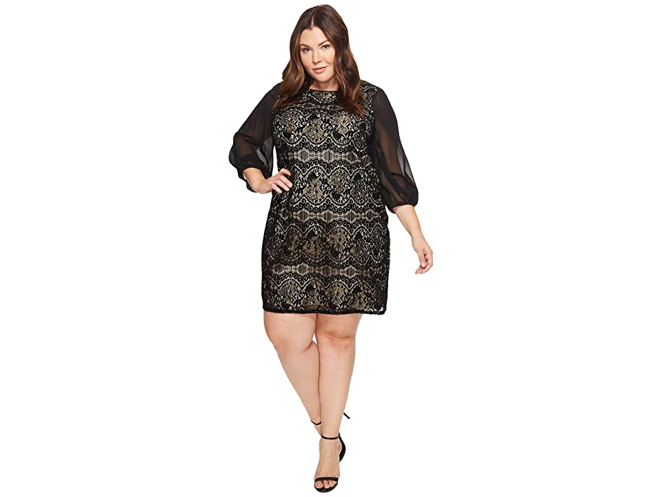 Adrianna Papell Plus Size Flocked Lurex Lace Mixed Media Long Sleeve Sheath Dress (Black/Champagne) Women
