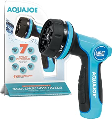 Aqua Joe AJHN102 Heavy Duty Indestructible Metal Multi Function Adjustable Hose Nozzle, w/Smart Throttle,w/ Smart Throttle