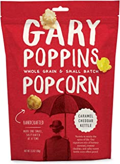 Gary Poppins Popcorn - Gourmet Flavored Popped Popcorn - 4 Pack Caramel Cheddar Kettle (5.5oz)