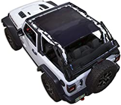 SPIDERWEBSHADE Jeep Wrangler JL Mesh Shade Top Sunshade UV Protection Accessory USA Made with 10 Year Warranty for Your JL 2-Door (2018 - current) in Black