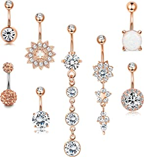 8PCS 14G Surgical Steel Belly Button Rings Dangle for Women Girls Navel Rings Opal Flower CZ Body Piercing Silver Rose Gold Tone
