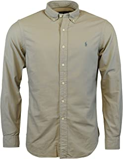 a5371e2c Polo Ralph Lauren Mens Garment Dyed Oxford Buttondown Shirt (Small, Soft  Grey)