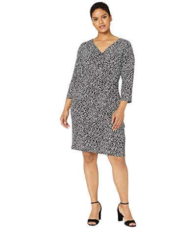 LAUREN Ralph Lauren Plus Size Floral Jersey Dress (Black/Cannes Blue/Colonial Cream) Women