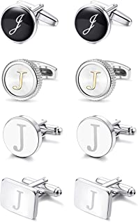 4Pairs Men's Initial Letter Shirts Cufflinks Engraved Shirt Cufflink Alphabet Set Fashion Dazzle Tuxedo Cufflinks Business Wedding Father's DayGift