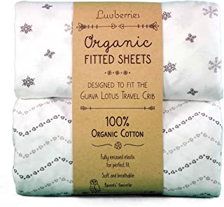 Guava Lotus Travel Crib Sheets (Set of 2) - 100% Organic Cotton Crib Sheets, Baby and Toddler, Fitted Crib Sheets, for Boy...