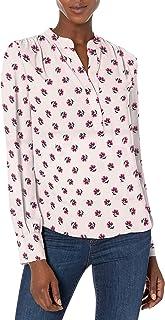 Marca Amazon - Lark & Ro Long Sleeve Band Collar Gathered Detail Blouse - dress-shirts Mujer