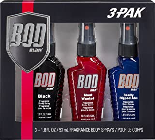 Bod Man Body Spray Pack of 3 Styles, Black - Most Wanted - Really Ripped Abs