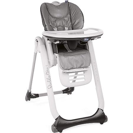Chicco Polly2Start - Trona para bebé desde el nacimiento hasta los 3 años (15 kg), con 4 ruedas, función reclinable y cierre compacto, Antracita