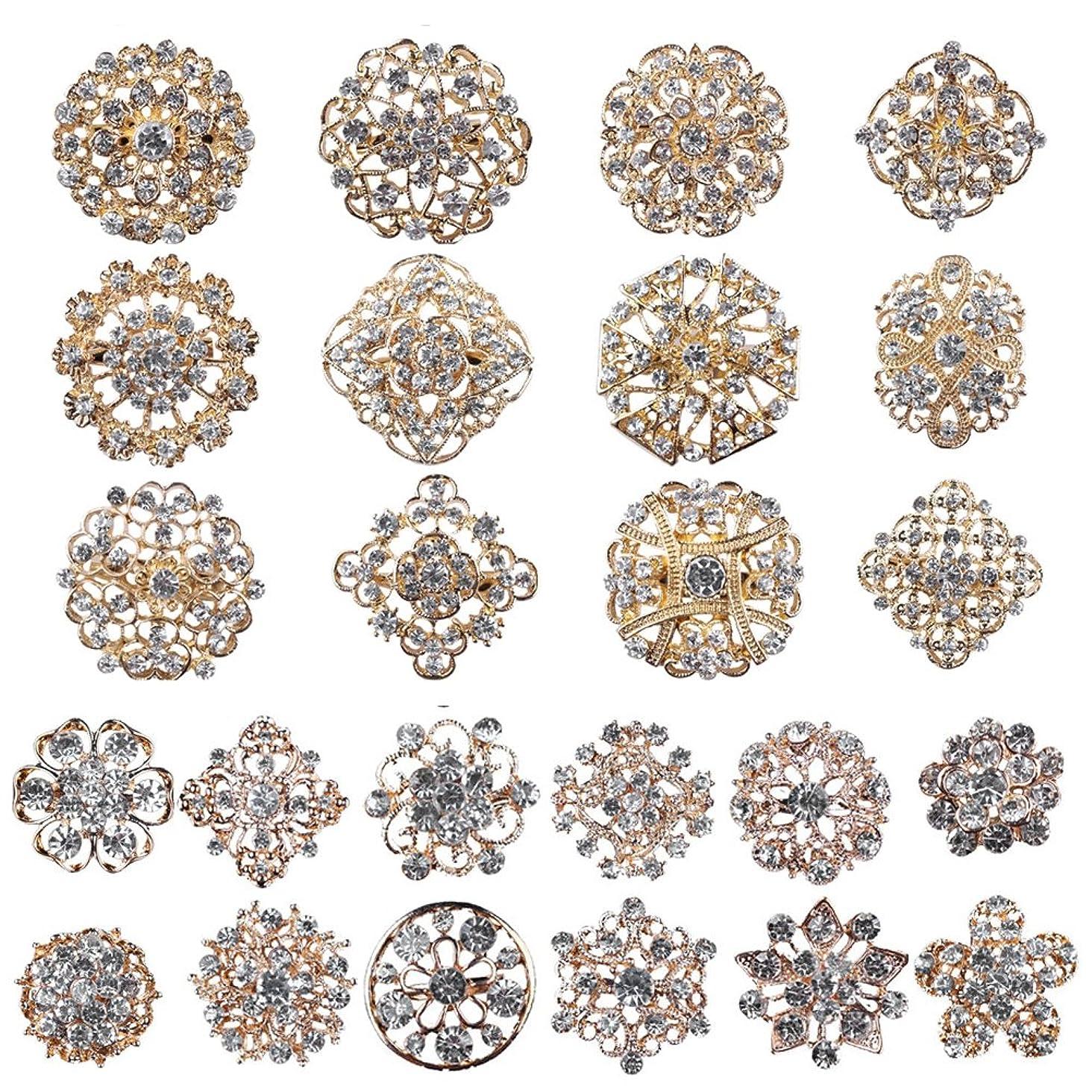Mutian Fashion Lot 24pc Clear Rhinestone Crystal Flower Brooches Pins