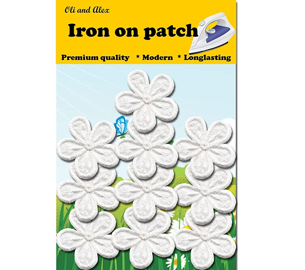 Iron On Patches - White flower Patch 10 pcs Iron On Patch Embroidered Applique A-43