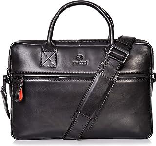 DONBOLSO Notebooktasche Marseille 13,3 Zoll Leder I Umhängetasche für Laptop I Aktentasche für Notebook I Tasche für Damen und Herren Schwarz