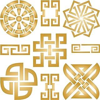 Plantilla de pared con diseño de símbolo oriental reutilizable para taoísta uso en proyectos de papel álbumes de recort...