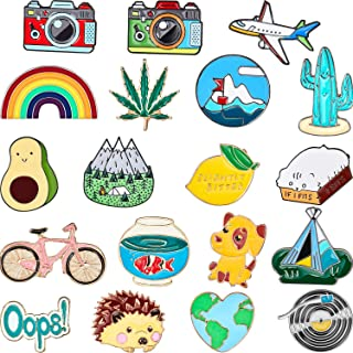 Hicarer 20 Pieces Cute Enamel Lapel Pin Set Cartoon Brooch Pin Badges Brooch Pins for Clothing Bags Jackets Accessory DIY ...