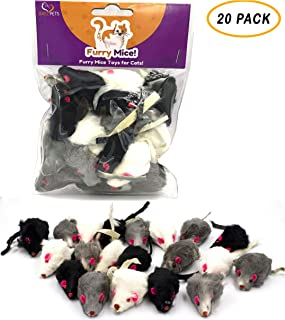 AXEL PETS 20 Furry Mice with Catnip and Rattle Sound Made of Real Rabbit Fur Interactive Catch Play Mouse Toy for Cat,  Pack of 20 Mice