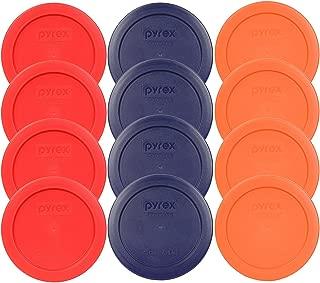 Pyrex 7200-PC 2 Cup (4) Red (4) Dark Blue (4) Orange Round Plastic Food Storage Lids - 12 Pack