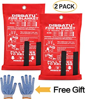 DIBBATU Fire Blanket Emergency Flame Retardent Shelter Safety Cover Designed for Kitchen,Fireplace,Grill,Car,Camping (2 Pack+ Free Gloves)