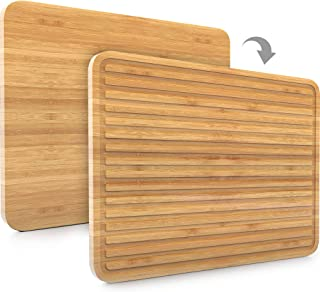 Large Bamboo Cutting Board for Kitchen | Wood Cutting Board | Butcher Block – Knife Friendly for Chopping Meat and Vegetables – Sleek 2-in-1 Drain Board 17 x 12.5