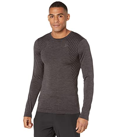 Craft Fuseknit Comfort Round Neck Long Sleeve (Black Melange 2) Men