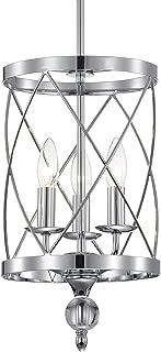 Crystal Chandelier Chrome Finish Industrial Pendant Light 3-Light,Cylinder Metal Shade