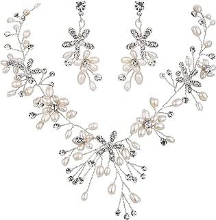 Women's Bohemian Boho Crystal Teardrop Freshwater Cultured Pearl Handmade Filigree Flower Choker Necklace Dangle Earrings Set