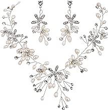 BriLove Women's Bohemian Boho Crystal Teardrop Freshwater Cultured Pearl Handmade Filigree Flower Choker Necklace Dangle Earrings Set
