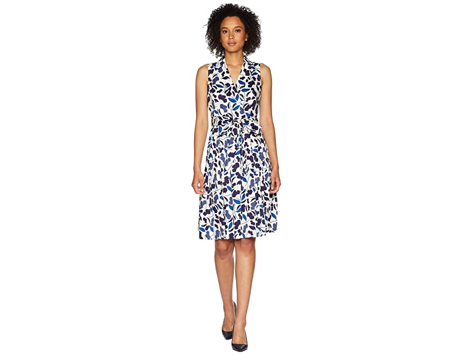 Anne Klein Floral Cotton Fit and Flare Dress (Monaco Combo) Women