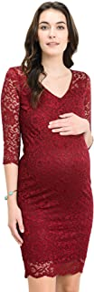 Women's Maternity Floral Lace Knee Length Bodycon Dress