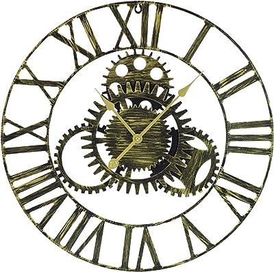 "Sorbus Large Decorative Wall Clock, 24"" Round Oversized Centurian Roman Numeral Modern Style Home Decor Analog Gold Metal Clock"
