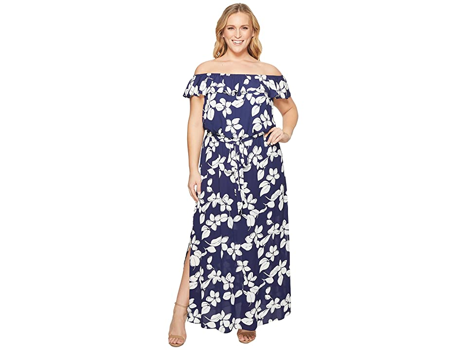 Adrianna Papell Plus Size Simple Delight Ruffle Maxi (Blue Multi) Women