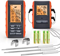 Wireless Meat Thermometer for Grilling Smoking - Remote Cooking Thermometer with 3 Probes - Monitor Food and Ambient Tempe...
