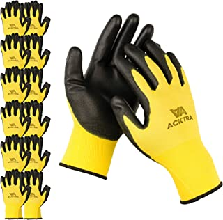 ACKTRA Ultra-Thin Polyurethane (PU) Coated Nylon Safety WORK GLOVES 12 Pairs, Knit Wrist Cuff, for Precision Work, for Men & Women, WG002 Yellow Polyester, Black Polyurethane, X-Large