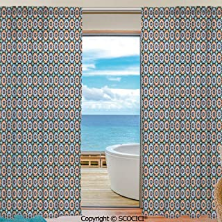 Symmetric Shutters Decorative Sheer Curtains for Kitchen Window Drapes with Rod Pocket for Small Windows,2 Panels,Moroccan,Mosaic Circular Pattern Arrow Shapes Marrakech Inspired Design Abstract Moti