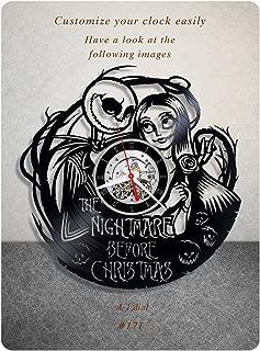 The Nightmare Before Christmas vinyl clock, vinyl wall clock, walt disney pictures vinyl record clock tim burton dark fantasy kids clock wall art gift 171 - (a1)