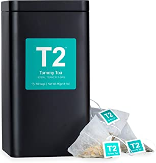 T2 Tea Tummy Bags Tin - Mint, Liqourice & Fennel Tea for Stomach Relief, 60 Count