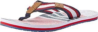 Atlantis Shoes Men's Navigation Plaid Stripe Thong Sandals