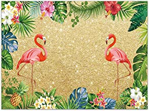 Allenjoy 7x5ft Golden Tropical Flamingo Aloha Summer Background Palm Leaves Hibiscus Flower Pineapple Hawaiian Luau Flamingle Party Banner Gold Glitter Birthday Backdrop Photography Photo Booth Props