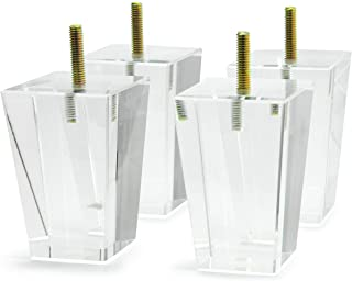 Acrylic Furniture Legs Pack of 4 Clear Feet for Sofa Desk...