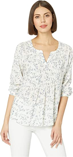 Long Sleeve Tranquil Ditsy Split-Neck Pintuck Blouse