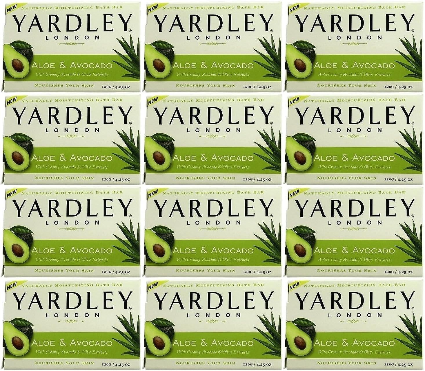 ラフトチェスをするコーデリアYardley ロンドンアロエアボカド当然のことながら保湿入浴バー4.25オズ(12パック) 12のパック ヌル