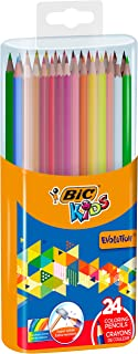BIC Kids Evolution ECOlutions Colouring Pencils - Assorted Colours, Durable Case of 24