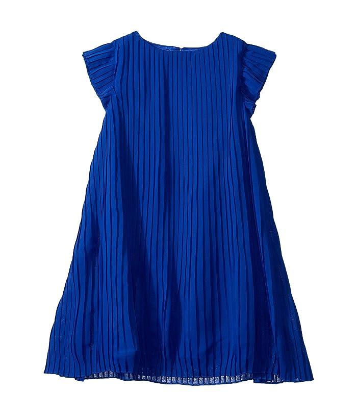 BCBG Girls  Pleated Chiffon Dress (Big Kids) (Dazzling Blue) Girls Clothing