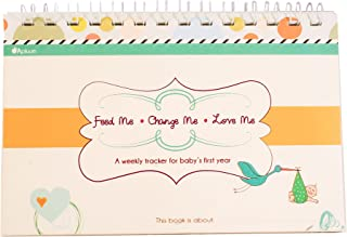 Apluum Feed Me! Change Me! Love Me! A Weekly Tracker for Baby's First Year (Blue/Orange)