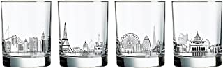 Luminarc L1923 Skylines 13.25 Ounce Assorted Decorated Double Old Fashioned, 4 Piece Set, Glass, Clear