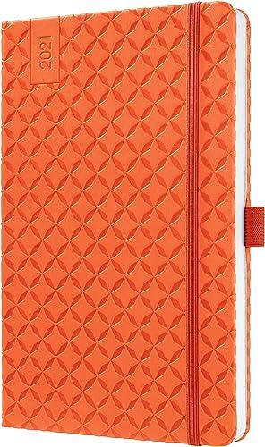 SIGEL J1119 Agenda semainier Jolie 2021, couverture rigide, 13,5 x 20,3 cm, orange