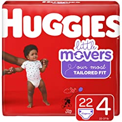Huggies Little Movers Diapers Size 4 (22-37 lb.), 22 Ct, Jumbo Pack (Packaging May Vary)